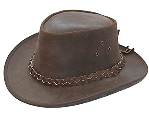 NEW LEATHER COWBOY WESTERN AUSSIE STYLE BUSH HAT BROWN MENS/LADIES (M (58-CM))