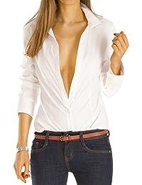 Bestyledberlin Damen Blusen, Taillierte Stretch Basic Damenbluse, Hemden Oberteil langarm t33zn