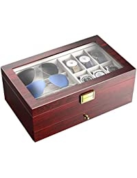 CRITIRON Watch Box Display Double Layers Storage Case,6 Watches Slots Wooden Box Container Suede Inside Paint Outside with Jewelry Organizer Drawer