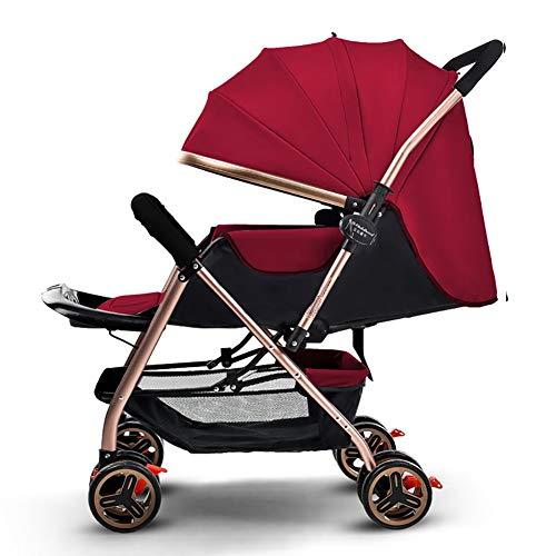 Yhz@ Cochecito de bebé Ligero Portable High Landscape Puede Sentarse y acostarse Plegable Simple Handle Reversible Suspension Neonatal Buggy Baby Trolley Sillas de Paseo (Color : Red)