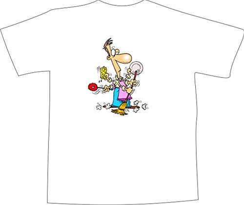 T-Shirt E1265 Schönes T-Shirt mit farbigem Brustaufdruck - Logo / Grafik / Design - Multifunktions Reinigungskraft mit Besen Weiß