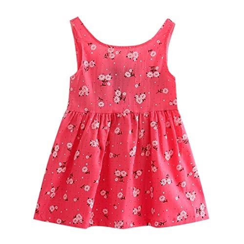 YWLINK Kleinkind MäDchen Rückenfrei Sommer Prinzessin Kleid Mit Blume Stickerei Baby Party Hochzeit ÄRmellose Bequem Süß Kleider Weste Kleid(Rot,100)