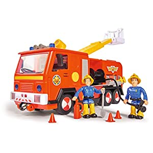 Simba Sam Jupiter 109251036 Fire Engine 2.0 with Sam and Elvis Figure with Light and Sound / with Extendible Ladder and Searchlight / 28 cm