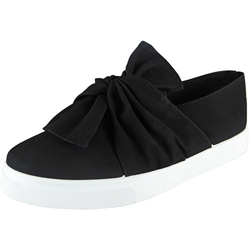 new-womens-ladies-trainers-faux-suede-slip-on-flat-bow-sneakers-pumps-shoes-size-4