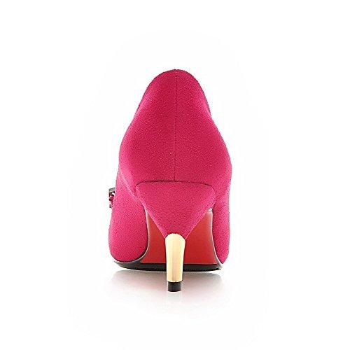 AgooLar Damen Eingelegt Mattglasbirne Mittler Absatz Spitz Zehe Pumps Schuhe Rosa