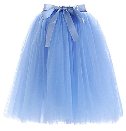 Facent Mädchen 6 Schichten Knielang Tüllrock Midirock Tüll Kleid Rock Hellblau