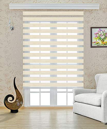 Double store 220 cm de largeur x 250 cm de longueur couleur beige avec plus large Ballast + fermé CASSETTE + TREUIL alternative à rideau ou plissée Duo Rollo