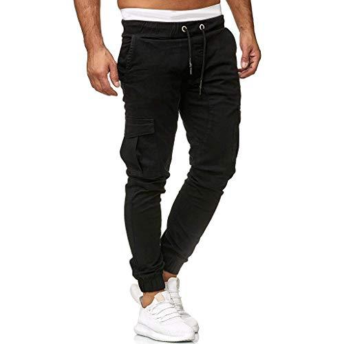 ITISME Jeanshosen Männer Jogginghose Hosen Lässige Elastische Joggings Sport Solid Baggy Pockets Hose(Schwarz05,3XL)