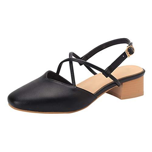 MORETIME Scarpe Nere Eleganti,Sandali di Moda da Donna Tacchi Alti Cross Cintura Fibbia Sandali Casual Roman Sandalo