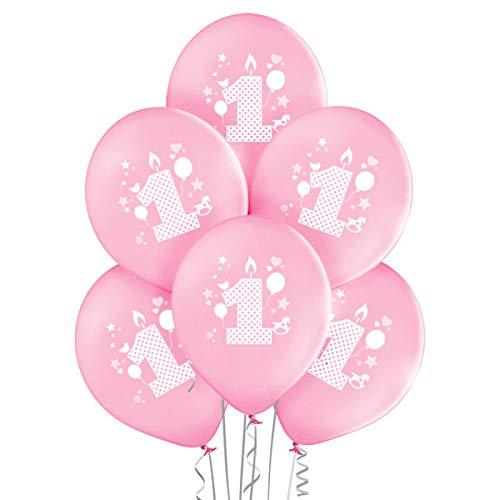 Globos cumpleaños 1 año niña de primer de color rosa para decorar fiestas, paquetes de 20 unidades