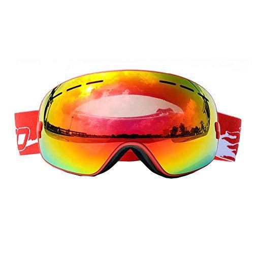 JXS-Goggles 2-Layer Skibrillen, Uv-resistente Beschichtung, Wandergläser, Anti-Nebel und Anti-Glare Anti-Stun können für Myopie verwendet Werden,Red