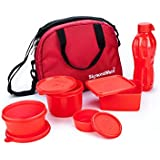 Signoraware Sling Plastic Lunch Box Set with Bag, 5-Pieces, Red