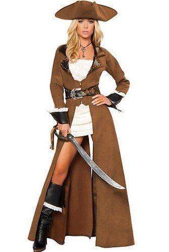 Kostüm Braun Trenchcoat (Da donna 4 pezzi Sexy Deluxe per festa pirata taglia adulto)