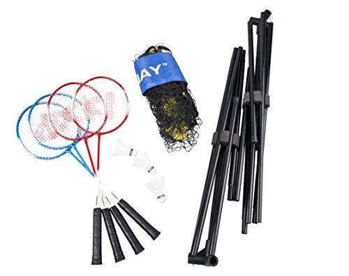 Donnay Badmintonset mit Netz MT9pc2as  Inkl. 4 Badmintonschläger Inkl. 3 Shuttles Inkl. Luxus-Fall für die Schläger