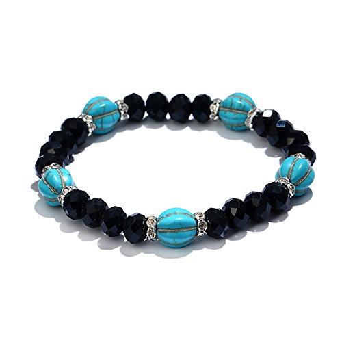 Man9Han1Qxi Frauen Elastic Faux Türkis Strass Perlen Armband Armreif Handgelenk Schmuck Geschenk Black