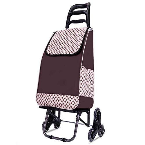 Po Large Capacity Shopping Trolley, Lightweight Folding Shopping Cart, Utility Stair Climbing Trolley with Waterproof Detachable Bag,Swivel Front Wheels -