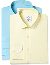 EX by Excalibur Men's Plain Regular Fit Formal Shirt (Pack of 2)