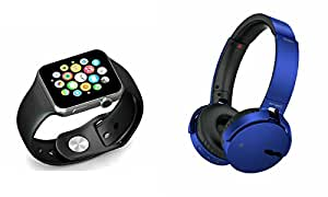 MIRZA Smart Watch & Extra Bass XB650 Headphones for GIONEE P5W(Bluetooth Headset & Bluetooth A1 Smart Watch Wrist Watch Phone with Camera & SIM Card Support Hot Fashion New Arrival Best Selling Premium Quality Lowest Price with Apps like Facebook,Whatsapp, Twitter, Sports, Health, Pedometer, Sedentary Remind & Sleep Monitoring, Better Display, Loud Speaker, Microphone, Touch Screen, Multi-Language, Compatible with Android iOS Mobile Tablet-Assorted Color)
