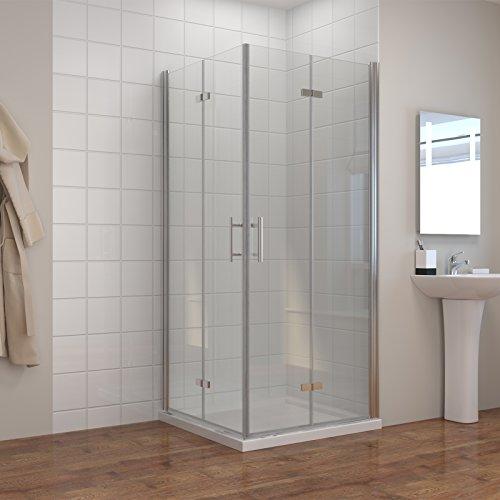 Dusche Duschkabine 100x80cm Eckeinstieg Falttür Duschabtrennung Duschtür Eckdusche Duschwand aus Sicherheitsglas 100x80cm