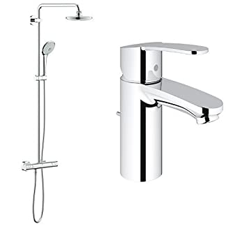 Grohe Euphoria System 180 – Sistema de ducha con termostato incorporado + Eurostyle Cosmopolitan – Monomando de lavabo (1/2″, tamaño S)