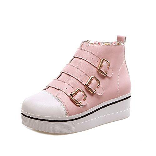 AllhqFashion Damen Pu Gemischte Farbe Reißverschluss Mittler Absatz Stiefel Pink