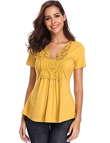 T-Shirts Damen V-Ausschnitt Blusen Sexy Tops Schlank Stretch Gelb Kurzarm Ärmel Brust Spitze Rüschen Schöne Mädchen - XL Rüschen Brust