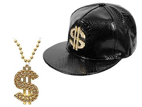 Alsino Hip Hop Rapper Kostüm für den Swag (Kv-103) - goldene Dollar Bling Bling Kette mit Snapback ()