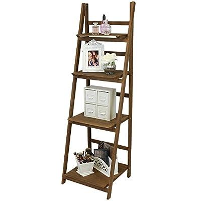 Hartleys 4 Tier Folding Ladder Shelf - Brown - low-cost UK light shop.