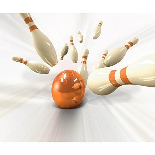 decomonkey Fototapete selbstklebend 3d 343x256 cm XXL Selbstklebende Tapeten Wand Fototapeten Tapete Wandtapete klebend Klebefolie Bowling Kugel Weiß Orange FOB0206b73XL