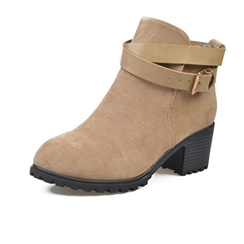 Tefamore Stivali Da Neve, Donne Tacco Alta Cinghia Fibbia Inverno Caloroso Caviglia Scarpe Cachi