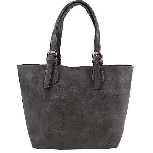 Haute für Diva S Neu Damen Kunstleder Top Henkel Riemen innen mit Reißverschluss Einkaufstasche Tragetasche - grau, Large grau