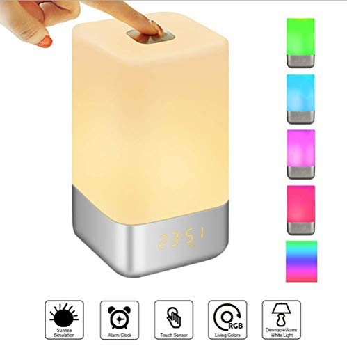 Bunte Lichter Wake-Up Lights USB Portable Touch Outdoor Table Rhythm Lamp Rhythm Breathing Light Multi-Touch Simulation Natural Alarm Clock Timing10 * 17.5CM - Reise-alarm-sound-maschine