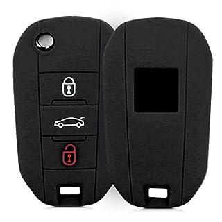 kwmobile Autoschlüssel Hülle für Peugeot Citroen - Silikon Schutzhülle Schlüsselhülle Cover für Peugeot Citroen 3-Tasten Klapp Autoschlüssel Schwarz