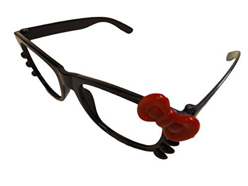 intage Klassisch Streber Schwarz Brillengestell Mit Schleife 7 Farben Ohne Gläser - Schwarz + Rote Schleife, M/L, Plastik (Rote Schleife Brille)