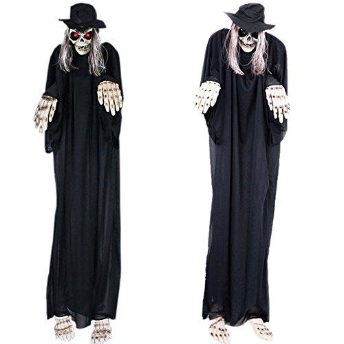 Machen Kostüm Eine Sie Hut In Katze Den (Zantec 1.4M Großer Halloween Dekor Hof Geisterhaus furchtsamer animierter hängender Sensenmann Geist)