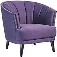 Home Canvas SOPHIE Club Chair [Purple] Upholstered Chair for Living Room - Studded Detailing, Solid Wood Legs
