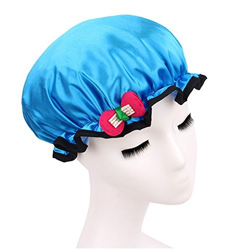 Vococal® Enfants Filles Satiné Imperméable Épaissir Double Couches Élastique Cheveux Bain Cap Douche Spa Hat avec Noeud Bleu