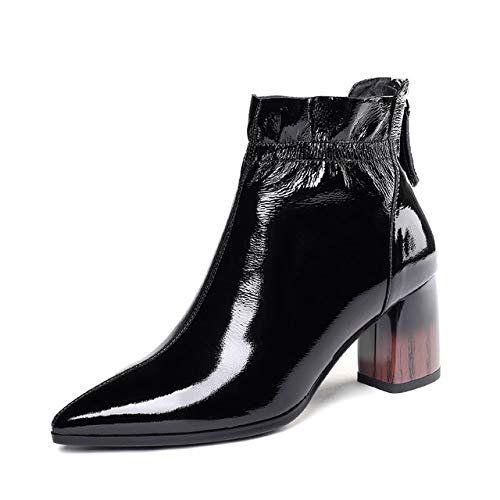 QPDUBB Ankle boots Stripe Heels High Boots Women Ankle Booties Pointed Toe Shoes Female Cow Leather Shoes Ladies Party Zip Shoes Winter