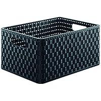 Rotho Country - Caja de almacenaje con efecto de mimbre, Negro, A4
