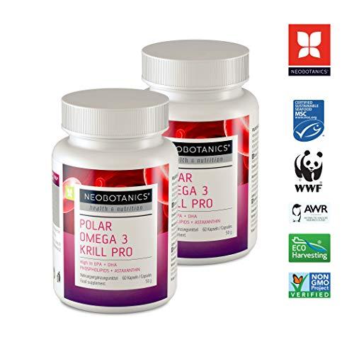 NEOBOTANICS® Premium Omega 3 Krillöl Kapseln Pro - 1200mg hochdosierte Reinsubstanzen pro Tagesdosis (2 Kapseln) mit Astaxanthin - 60 Stück - reich an EPA + DHA Fettsäuren + Phospholipide, Cholin