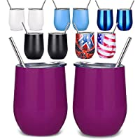 Lobeve 2 Pack Stainless Steel Wine Tumbler,12 oz Double Wall Vacuum Insulated Travel Stemless Wine Cup-Purple