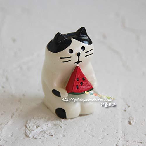 GBYJ Decoracion Seaside White Bear Travel Cat Black Bear Coco Doll Decoración de Auto, Come sandía Gato Blanco