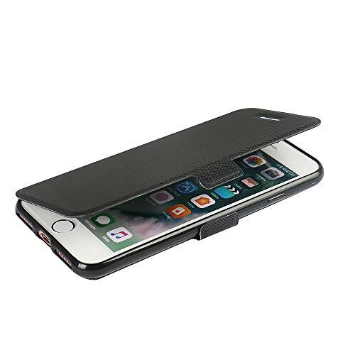 MTRONX für iPhone 7 Hülle, iPhone 8 Hülle, Case Cover Schutzhülle Tasche Etui Klapphülle Magnetisch PU Leder Weich TPU Folio Flip Ständer für Apple iPhone 7 iPhone 8 - Schwarz(MS-BK) - Apple Iphone Horizontal Pouch