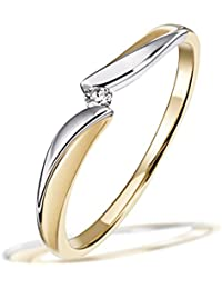 Goldmaid Damen-Ring Bicolor 585 Gold 1 Brillant 0,02 ct.