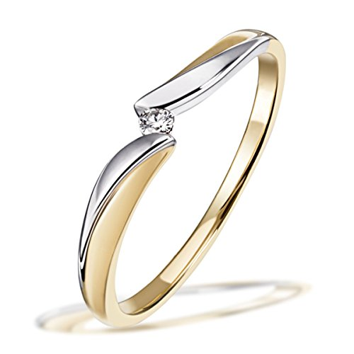 Goldmaid Damen-Ring Bicolor 585 Gold 1 Brillant 0,02 ct. Gr. 58
