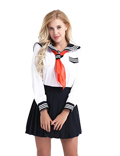YiZYiF Damen Mädchen Japan Kostüm Langärmelige Anzug Cosplay Uniform Anime Uniform Sailor Schulmädchen Kostüm Fasching Party Karneval Kostüm Weiß Small (Schuluniform Kostüm Party)