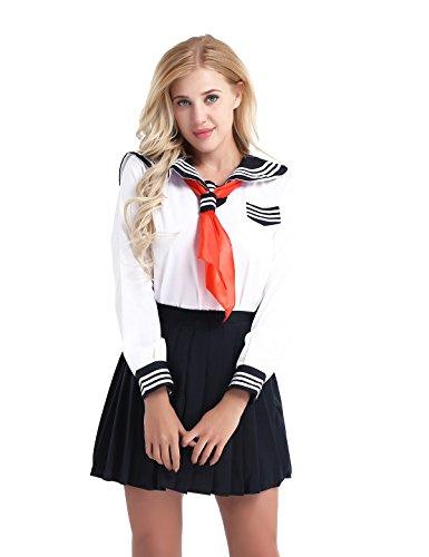 n Japan Kostüm Langärmelige Anzug Cosplay Uniform Anime Uniform Sailor Schulmädchen Kostüm Fasching Party Karneval Kostüm Weiß Small (Mädchen Anime Kostüm)