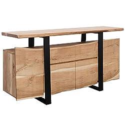 FineBuy Sideboard Akazie Kommode Massiv Holz 175x90x44cm | Highboard mit Türen & Schubladen Modern | Massive Design Anrichte | Kleiner Massivholz Schrank Landhaus | Holzkommode Baumkante