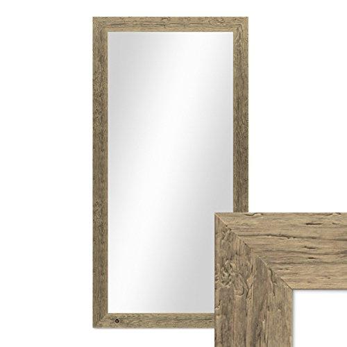 PHOTOLINI Wand-Spiegel 60x110 cm im Massivholz-Rahmen Strandhaus-Stil Breit Eiche-Optik Rustikal/Spiegelfläche 50x100 cm