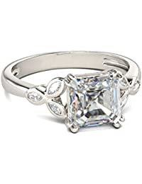 Naitik Jewels 925 Sterling Silver Princess Cut Diamond Unique Wedding & Engagement Ring For Women